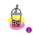 bubble tea colorful logo milk tea cup symbol with vector image vector image