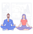 business people doing yoga vector image