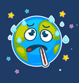 cartoon earth planet ill with thermometer vector image vector image