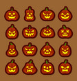carving face halloween pumpkin icon sticker set vector image