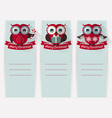 christmas banners with owls and space for text set vector image