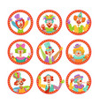 clown faces set funny circus characters vector image