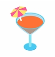 Cocktail with umbrella isometric 3d icon vector image