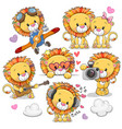 cute cartoon lions on a white background vector image