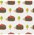 Cute hedgehog seamless pattern vector image