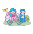 cute little girls riding bicycle in the landscape vector image