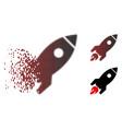 decomposed pixel halftone rocket launch icon vector image vector image
