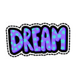 dream lettering stitched frame vector image vector image