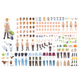 farmer or agricultural worker constructor set or vector image vector image