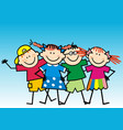 four happy kids on blue background vector image vector image