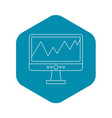 graph on the computer monitor icon outline style vector image vector image