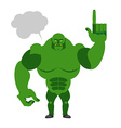Green Goblin with a text bubble Finger shows up vector image vector image