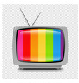 grey retro tv isolated transparent background vector image