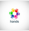 hands colorful circle logo vector image