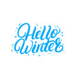 hello winter hand written lettering quote vector image