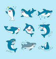 kawaii sharks collection funny cute fish cartoon vector image vector image