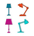 lamp icon set color outline style vector image vector image