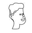 line happy and nice head man with hairstyle vector image vector image