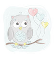 love owl cartoon bird forest animal vector image