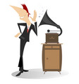 man music and vintage record player vector image vector image