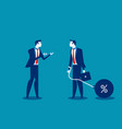 man talking to businessman chain bound hands vector image vector image