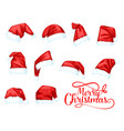 merry christmas holiday santa claus hat vector image