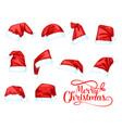 merry christmas holiday santa claus hat vector image vector image