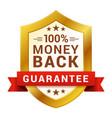 money back badge guarantee certificate emblem for vector image