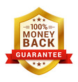 money back badge guarantee certificate emblem vector image vector image