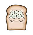 monster smiling slice bread cartoon vector image