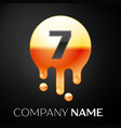 number seven splash logo golden dots and bubbles vector image vector image