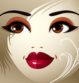Parts of the face of a young beautiful lady with a vector image vector image