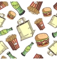Seamless Pattern Fast Food Set vector image vector image