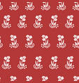 seamless pattern folk flowers white on red vector image vector image