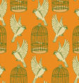 Sketch bird and cage seamless pattern vector image vector image