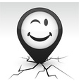 Smiley black icon in crack vector image vector image