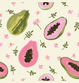 summer pattern with papaya seamless texture design vector image vector image