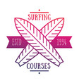 surfing courses emblem logo over white vector image vector image