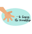 the beginning of friendship brotherly handshake vector image vector image