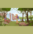 travelers man woman with rucksack in jungle forest vector image vector image
