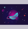 vibrant colorful planet with stars and speeding vector image vector image
