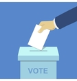 Voting concept hand putting paper the ballot box vector image