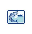 Wahoo Fish Jumping Fishing Boat Rectangle Retro vector image vector image