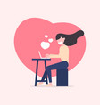 woman using laptop for online communication vector image vector image