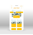 yellow tour ui ux gui screen for mobile apps vector image vector image
