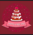 big cake with chocolate icing cream and cherry vector image