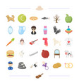 food animal tool and other web icon in cartoon vector image