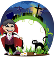 Vampire and black cat on a cemetery vector image