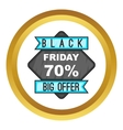 70 Black Friday sale icon vector image