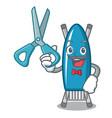 barber iron board character cartoon vector image